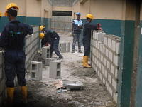 Block work in progress under supervision at the female ward of Epe General Hospital Lagos